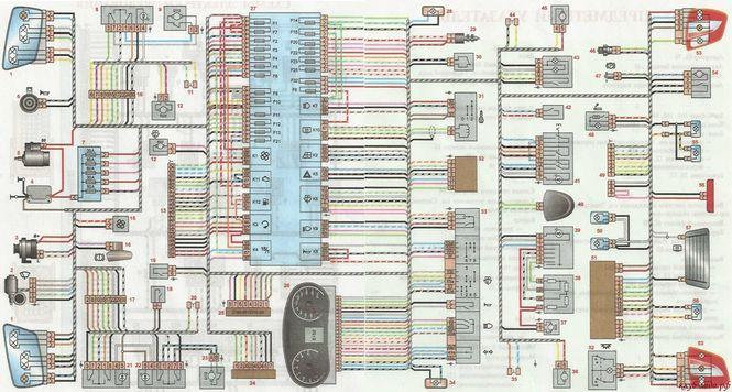 Общая схема электрооборудования Lada Granta