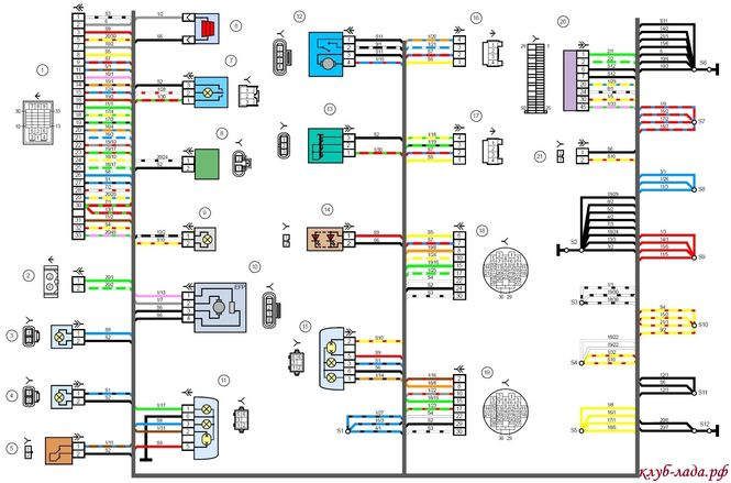 Электрическая схема гранта задней части ВАЗ 2190