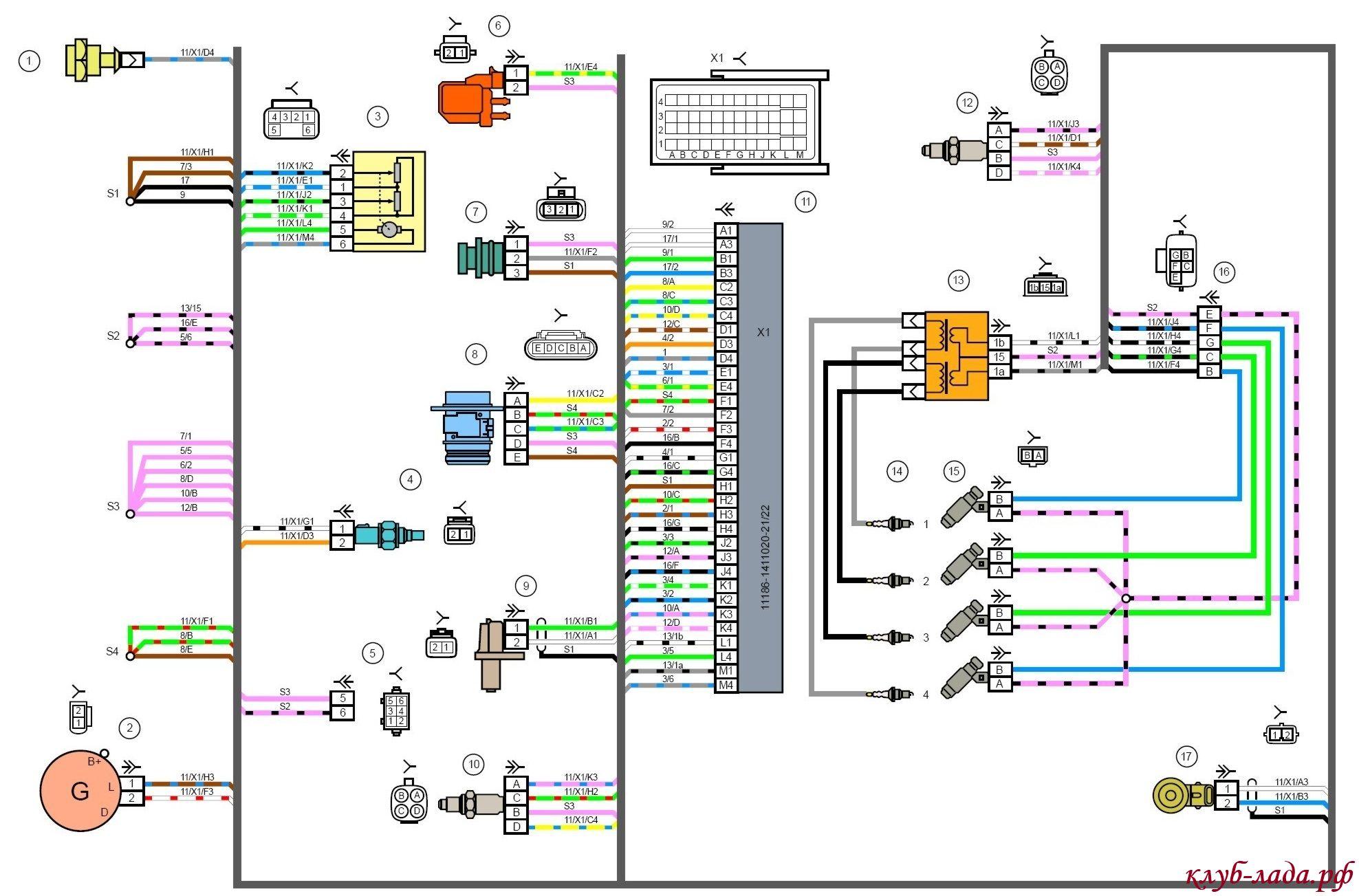 Общая схема электрооборудования ваз 2190 лада гранта.