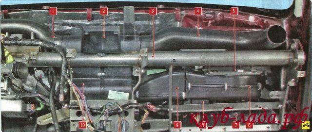 Элементы системы отопления, кондиционирования и вентиляции, расположенные в салоне ЛАДА Гранта