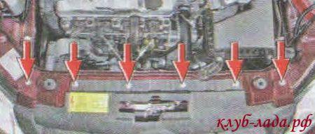 Открутите 6 болтов верхнего крепления бампера к кузову