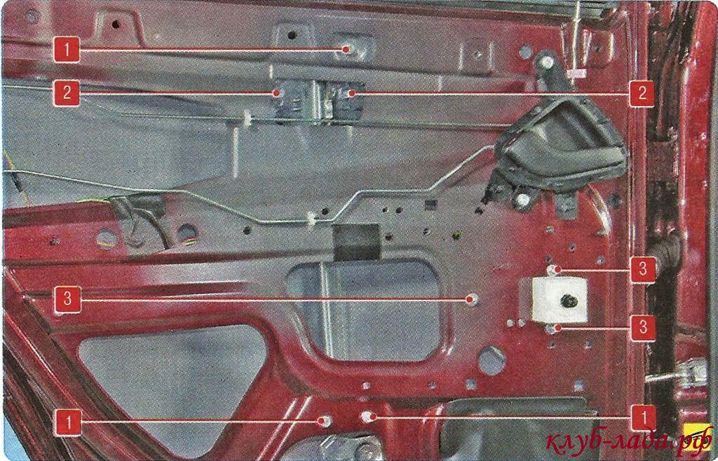Схема креплений заднего стеклоподъемника Гранты