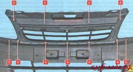 Снять решетку радиатора