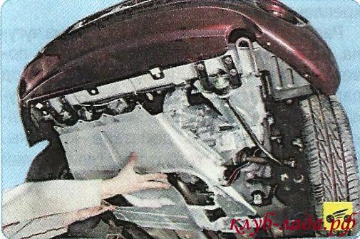 снятие защиты двигателя Гранты