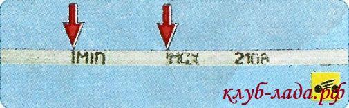 метки на щупе Гранты (МИН и МАКС)