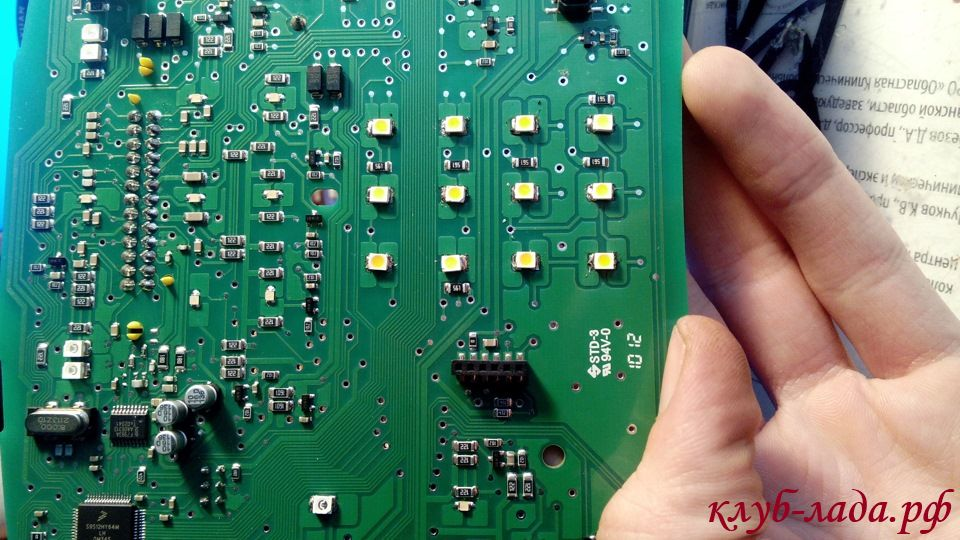 светодиоды дисплея панели приборов гранты и калина 2