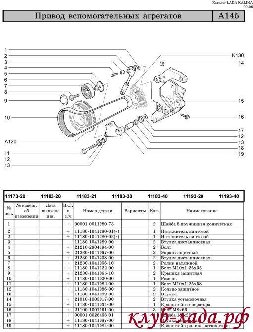 схема крепления генератора ЛАДА Калина