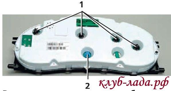 Расположение ламп комбинации приборов