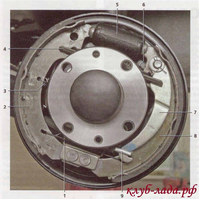 Тормозной механизм заднего колеса Лада Калина