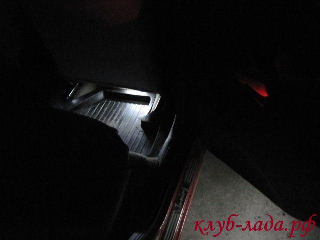 Подсветка ног задних пассажиров калины
