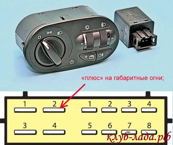 модуль управления светом Калины (распиновка)
