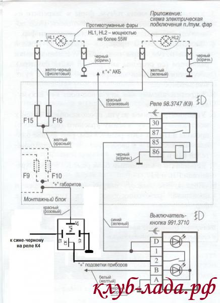 Схема противотуманных фар Калина