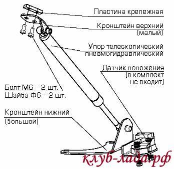 схема установки упора капота Техномастер на Калину