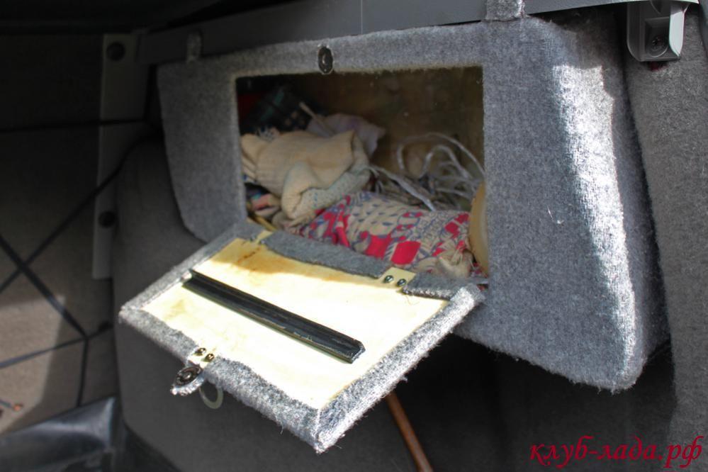 ящик в боковине багажника Калины