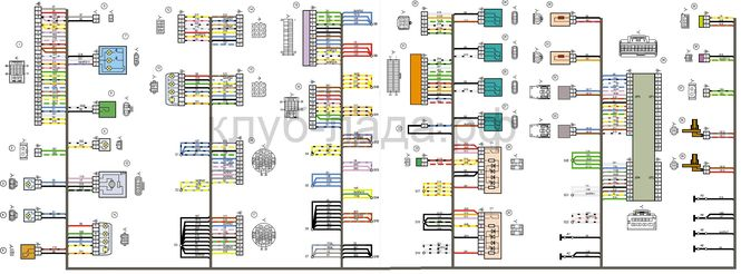 Схема задней проводки Калина 2