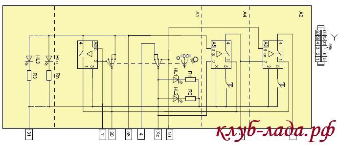 Схема модуля управления светом (МУС) Калина 2