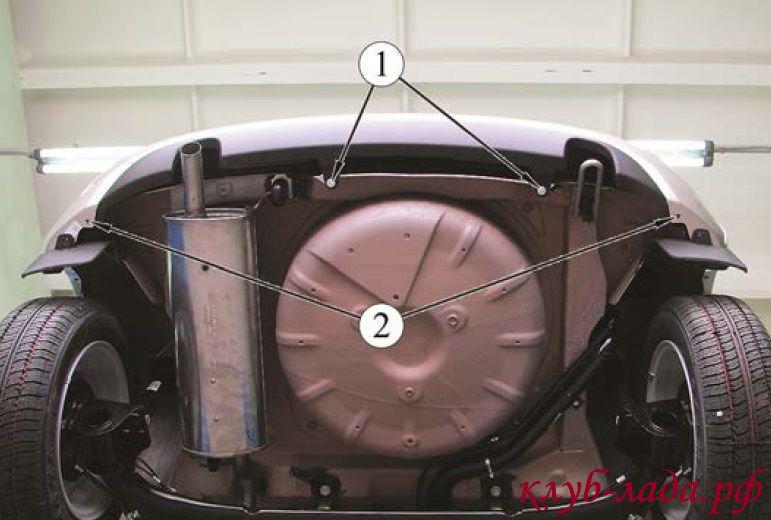 снятие заднего бампера Калины 2 хэтчбек (ВАЗ 2192)