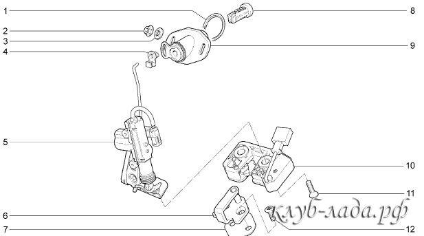 схема установки электрозамока багажника калина 2