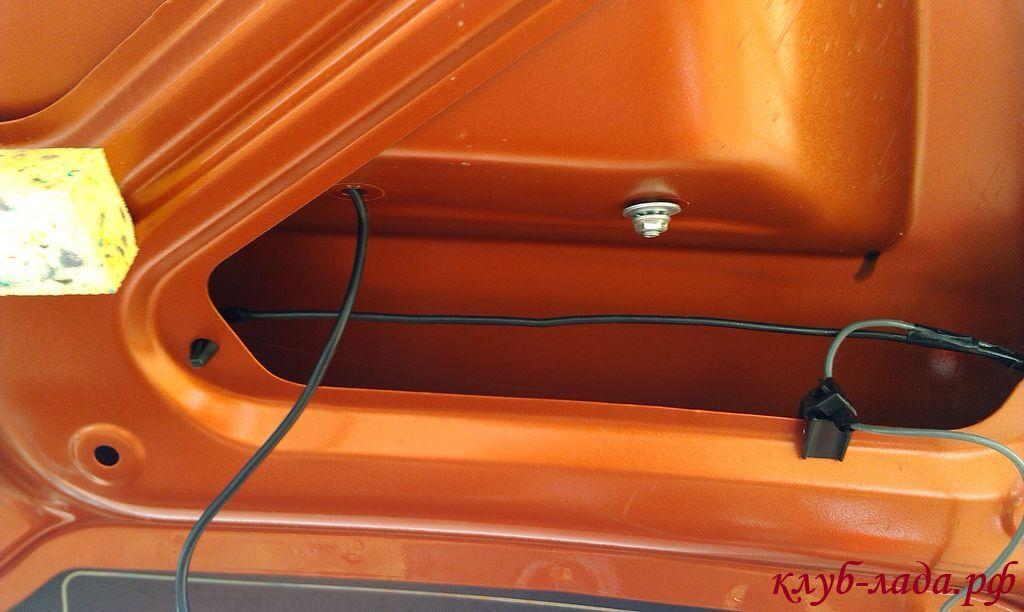 проводка камеры заднего вида в багажнике калины