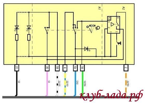 схема модуля управления светом калина 2