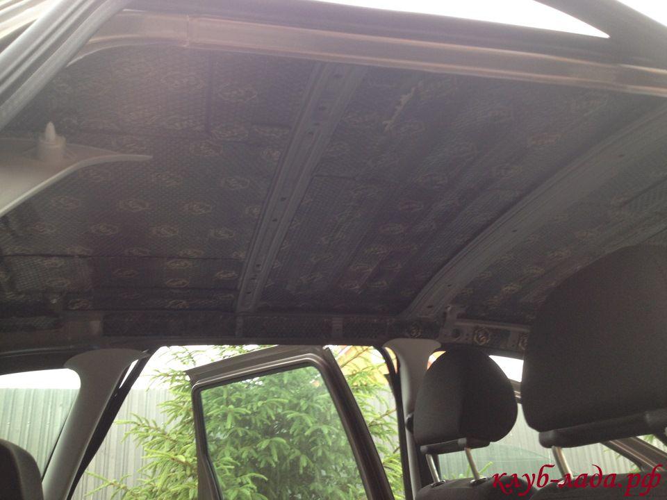 шумоизоляция потолка/крыши калина 2 (виброизолятор)