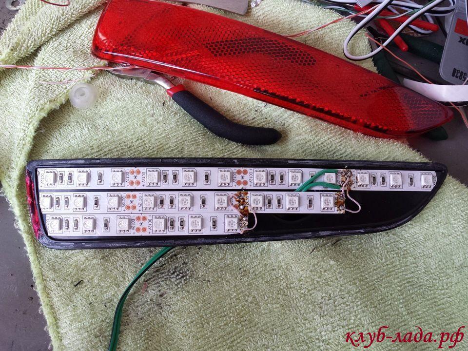 установка светодиодов в катафот калина 2