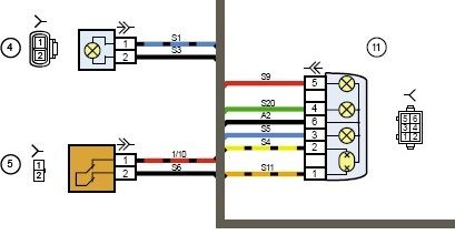 схема заднего фонаря калина 2