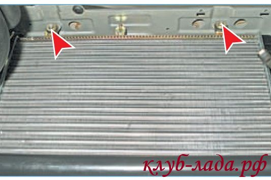 точки крепления радиатора приоры к верхней поперечине