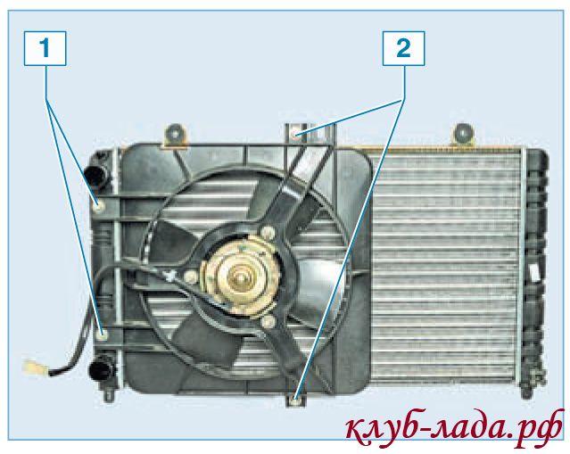 Схема креплений вентилятора радиатора Приоры