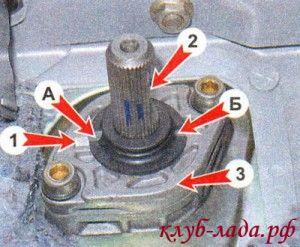 Расположение меток для установки рулевого вала