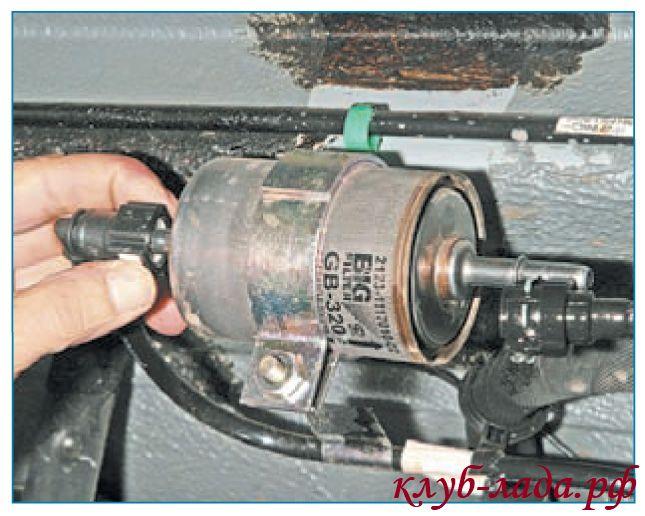 Снять наконечники трубок фильтра приоры