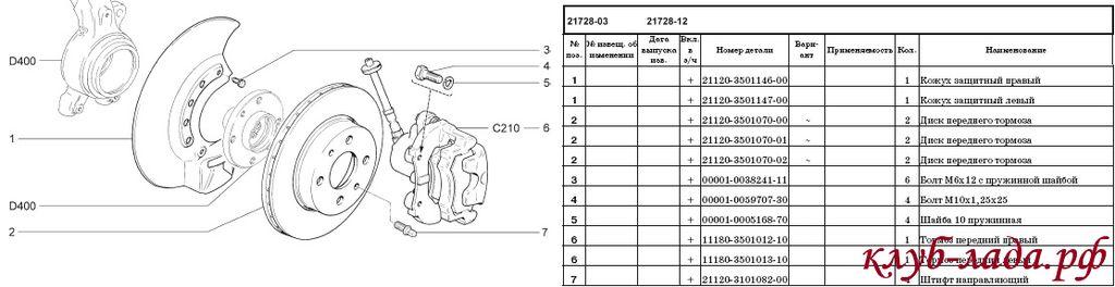 схема передних тормознов приоры