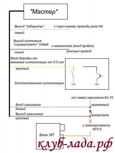 схема подключения доводчика на приору