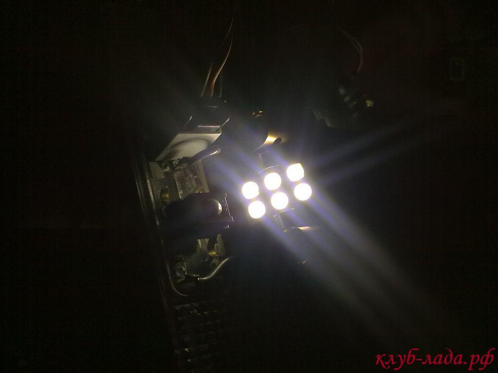 светодиодный модуль в плафоне приоры