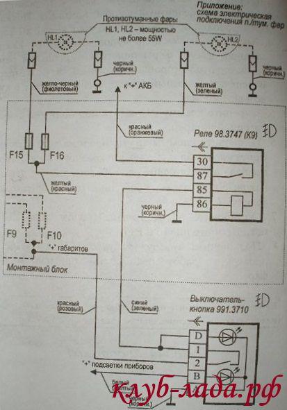 схема подключеная ПТФ на Lada Priora