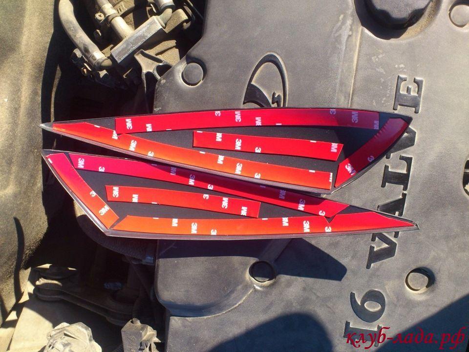 установка ресничек на фары приоры с помощью скотча