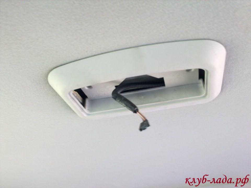 снятие центрального плафона потолка приоры