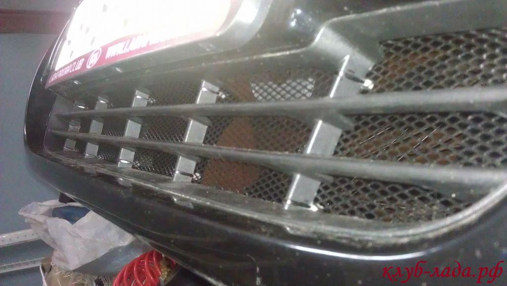 Установка защитной сетки в рестайлинговый бампер Приоры