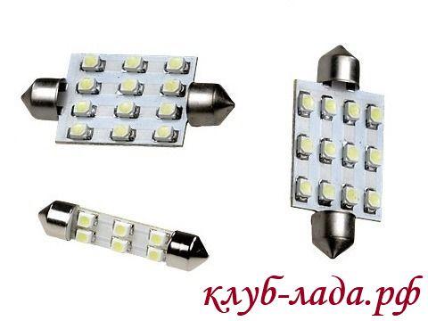 светодиодные лампы для плафона багажника ВАЗ